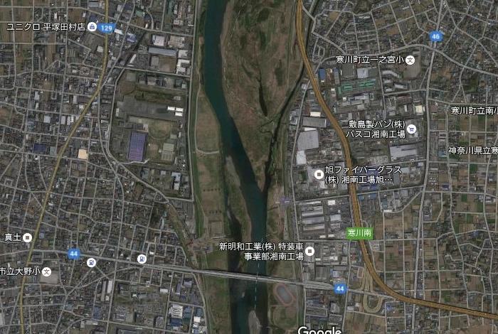 相模川 家屋倒壊等氾濫想定区域 航空写真